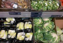 Verse groente in een supermarkt