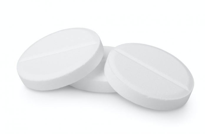 Three tablets aspirin isolated