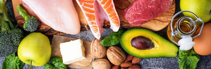 Balanced diet. Ketogenic low carbs products